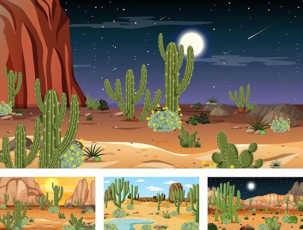 Différentes scènes de paysage de forêt désertique avec diverses plantes du désert