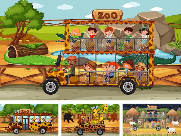 Différentes scènes de safari avec des animaux et des personnages de dessins animés pour enfants