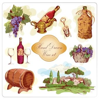 Différentes scènes sur le vin