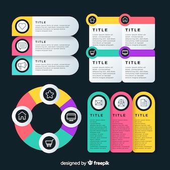 Différentes sections au design plat