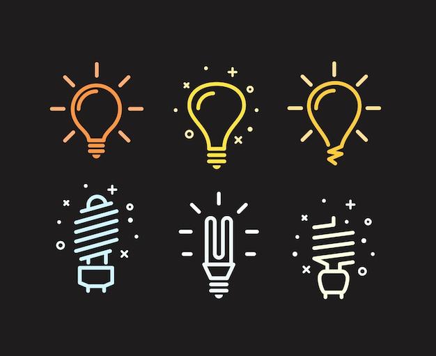 Différentes silhouettes d'ampoules modernes