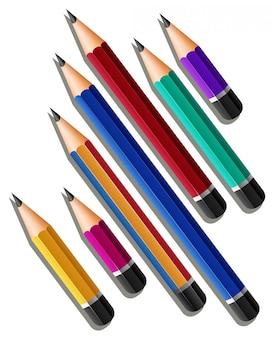 Différentes tailles de crayons tranchants