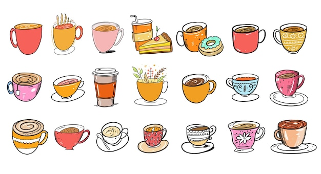 Différentes tasses et tasses colorées pour café et tes. style de bande dessinée. isolé sur fond blanc.