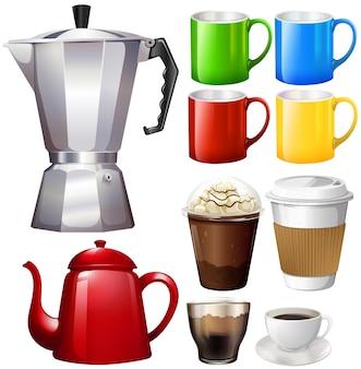 Différentes tasses et tasses d'illustration