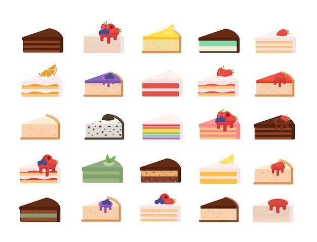 Différentes tranches de gâteau définies.