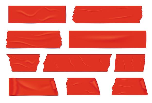 Différentes tranches réalistes d'un ruban adhésif rouge. ruban de masquage collant.