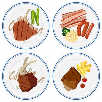 Différentes viandes grillées sur des assiettes