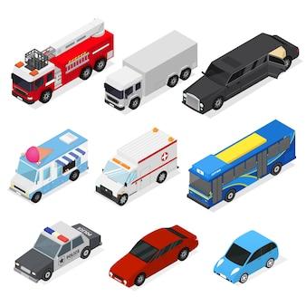 Différentes voitures définies isométrique
