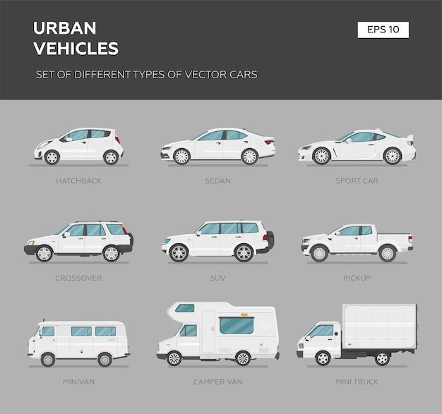 Différentes voitures sur fond gris