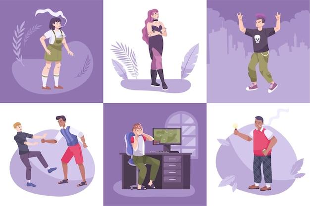 Différents adolescents roubled mis illustration
