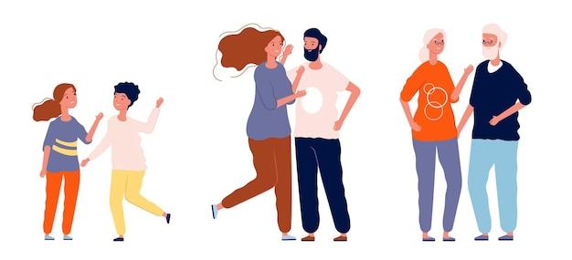 Différents âges un couple. enfants, adultes et personnages âgés. longue amitié, homme femme amoureuse, partenariat et illustration vectorielle familiale. amour de couple femme et homme, adolescents ou retraités