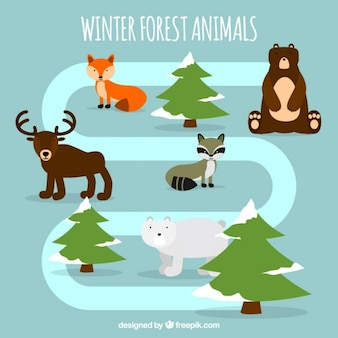 Différents animaux de la forêt dans la conception plate