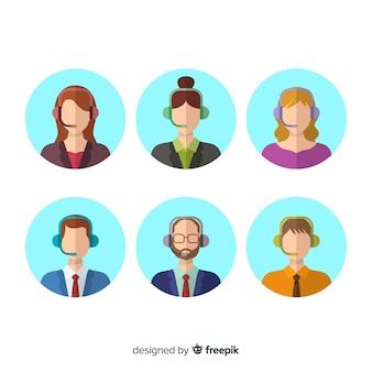 Différents avatars du centre d'appels en style plat