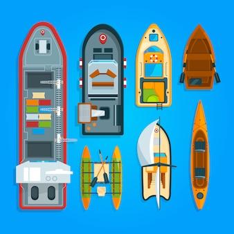 Différents bateaux et bateaux
