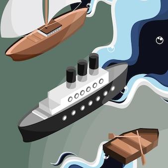 Différents bateaux isométriques