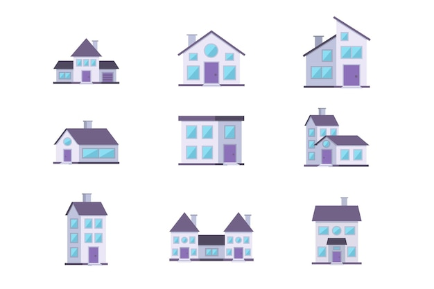 Différents bâtiments maisons ensemble de façade résidentielle