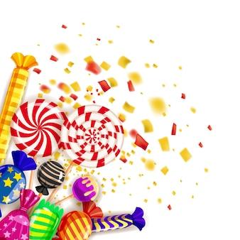 Différents bonbons fond coloré. set sucettes, bonbons dragées, menthe poivrée, macarons, chocolat