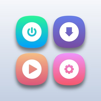 Différents boutons web colorés