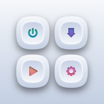 Différents boutons web dans un style dégradé
