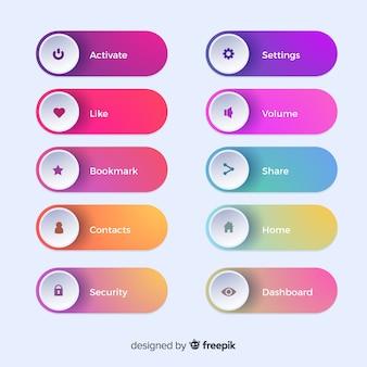 Différents boutons web en dégradé