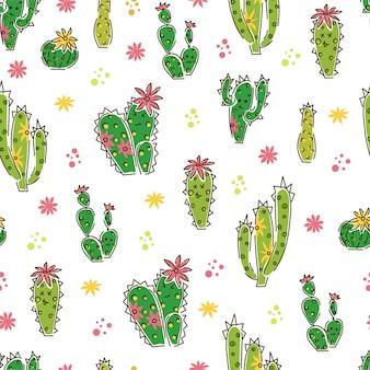 Différents cactus et fleurs transparente motif sur fond blanc.