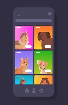 Différents chiens portraits animaux humains à fourrure site web d'animaux de compagnie ou boutique en ligne animaux de dessin animé écran de smartphone application mobile verticale