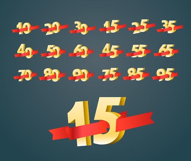 Différents chiffres avec des rubans. disposition de la bannière de vente