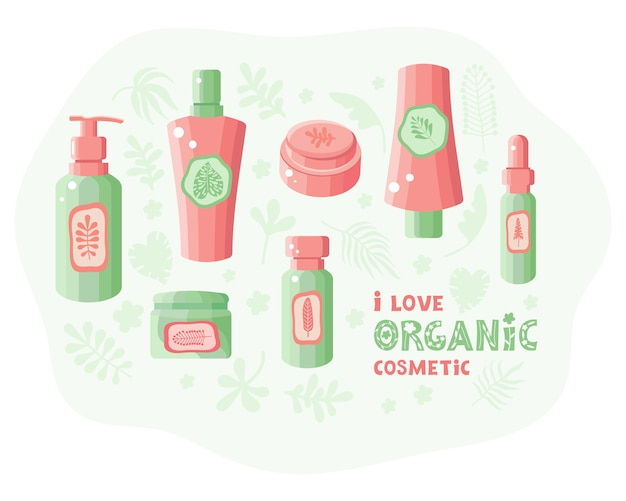 Différents cosmétiques biologiques naturels pour les soins de la peau. soin du corps, des cheveux et du visage à base de plantes et d'herbes.