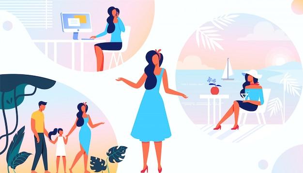 Différents côtés de la vie des femmes. devoirs et rôles