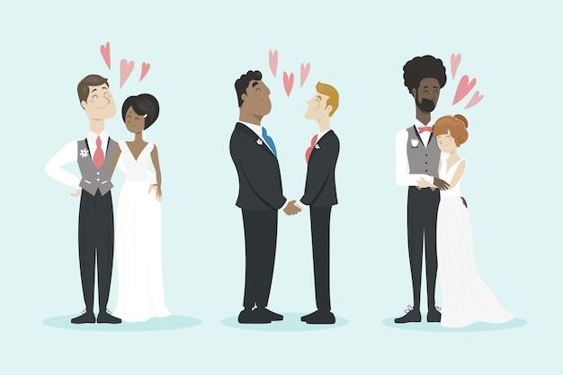 Différents couples de mariage