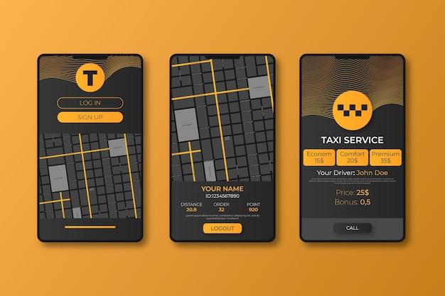 Différents écrans pour l'application de transport public
