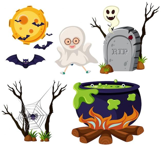 Différents éléments d'halloween sur fond blanc
