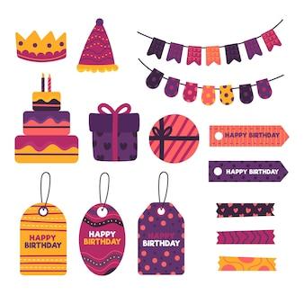 Différents éléments de scrapbook décoratifs d'anniversaire