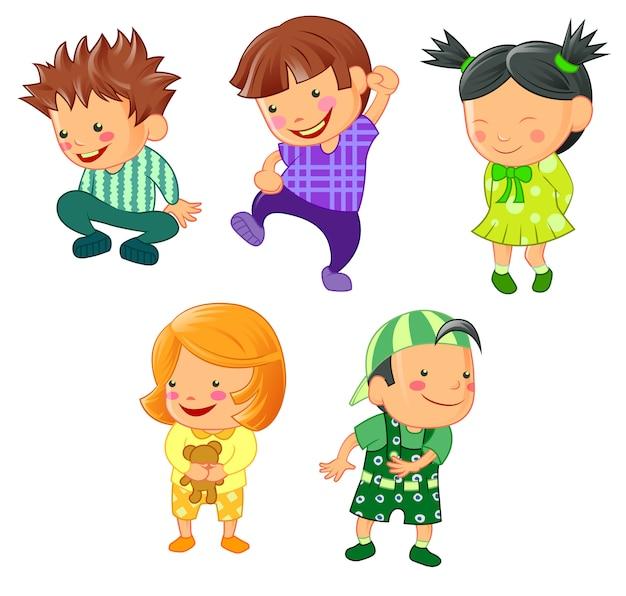 Différents enfants en style cartoon.