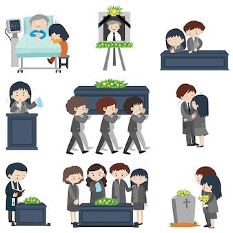 Différents événements à l'enterrement