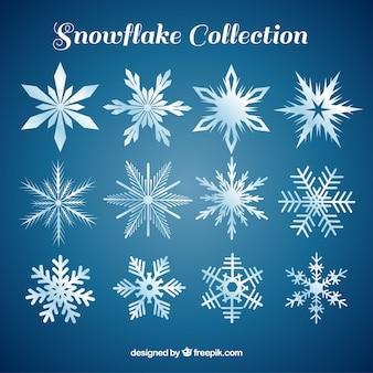 Différents flocons de neige dans le style abstrait