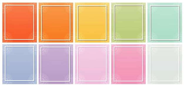 Différents fonds de couleur avec des motifs de mandala