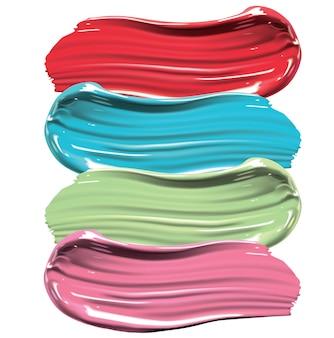 Différents frottis de rouge à lèvres, de peinture ou de crème.