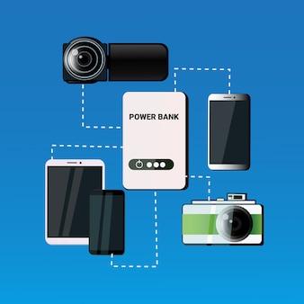 Différents gadgets mobiles chargeant du concept de batterie portable de téléphone intelligent de banque de puissance