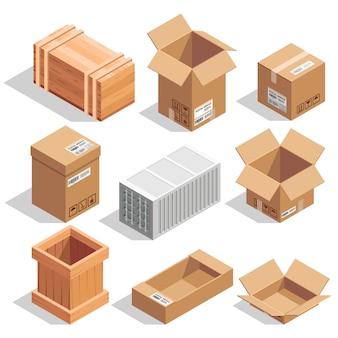 Différents gros colis de livraison. entrepôt ou expédition fermé et boîtes d'ouverture.