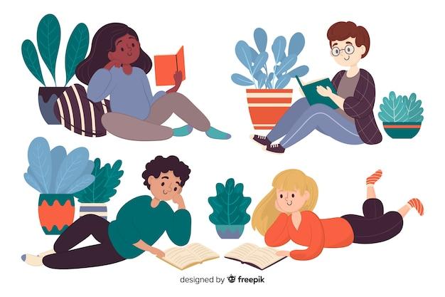 Différents jeunes lisant ensemble illustrés