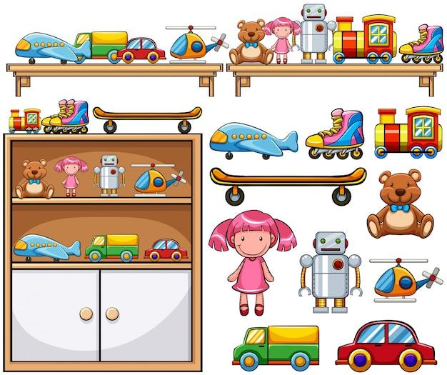 Différents jouets sur les étagères en bois