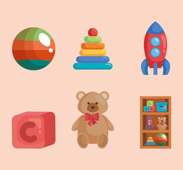 Différents jouets pour salle de jeux