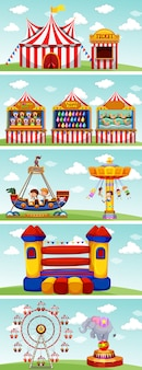 Différents manèges au cirque