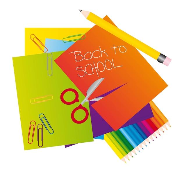 Différents matériaux pour revenir à l'illustrateur vectoriel de l'école