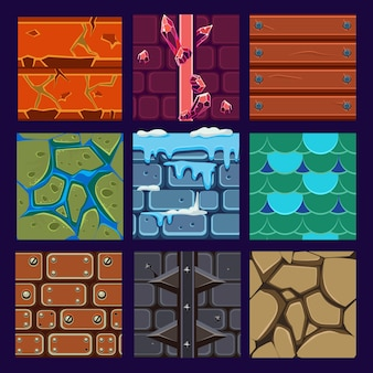 Différents matériaux et textures pour le jeu