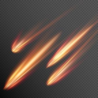 Différents météores, comètes et boules de feu.