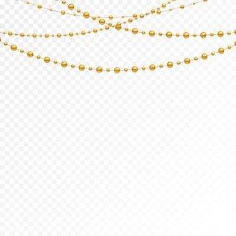 Différents modèles et formes de perles d'or.