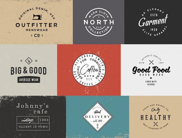 Différents modèles de logo vintage avec différents arrière-plans colorés. modèles de stock rétro pour les projets de marque.