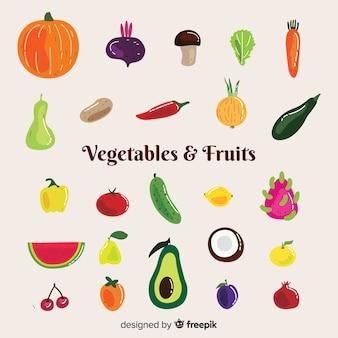 Différents pack de fruits et légumes